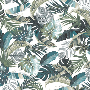 Rainforest Floral - White/Blue