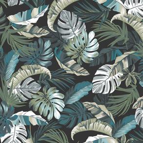 Rainforest Floral - Charcoal/Blue