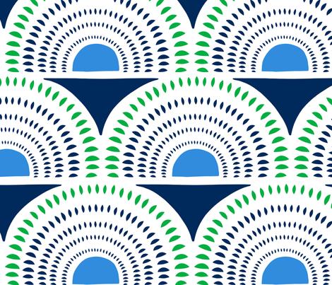Aurora - Jumbo Geometric Navy Blue Green  fabric by heatherdutton on Spoonflower - custom fabric