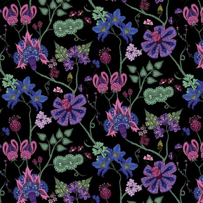 indian floral 3 on black