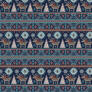 Festive Fair Isle - Navy Blue Small Scale