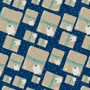 Holiday Packages + Presents in Royal + Turquoise // Brown Paper Packages Tied Up With String + Blank Tags with Snow Flurry Background