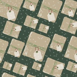 Holiday Packages + Presents in Evergreen // Brown Paper Packages Tied Up With String + Blank Tags with Snow Flurry Background