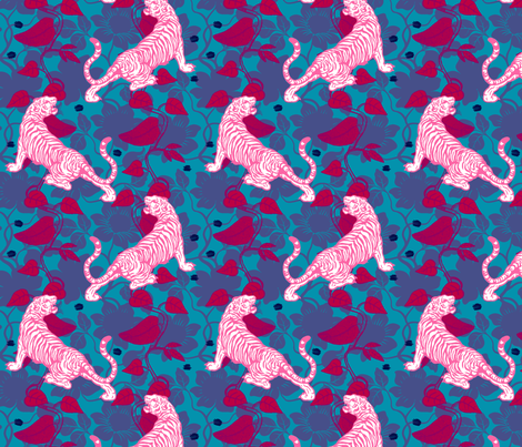 Jungle Tiger Fuschia fabric by brainsarepretty on Spoonflower - custom fabric