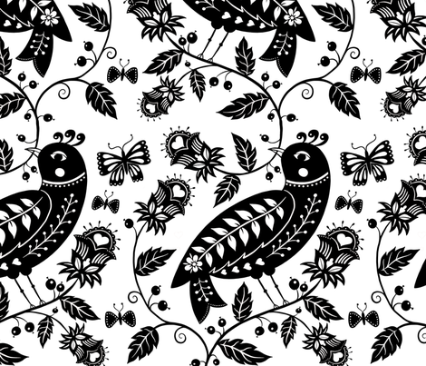 Large Scale Black and White fabric by suzytaylordesigns on Spoonflower - custom fabric