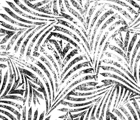 Loulu Palm Batik Black on White Jumbo 150 fabric by kadyson on Spoonflower - custom fabric