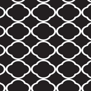 White Quatrefoil Pattern Black