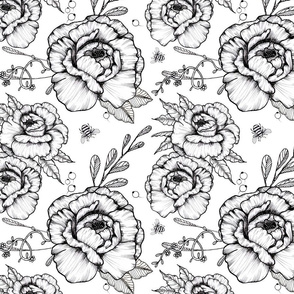 Peonies & Bees V2