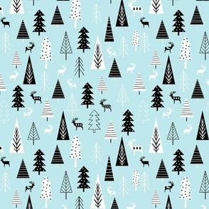 Black And White Christmas Trees On Aqua