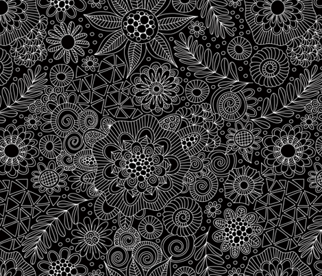 Black Doodle Pattern fabric by taziart on Spoonflower - custom fabric
