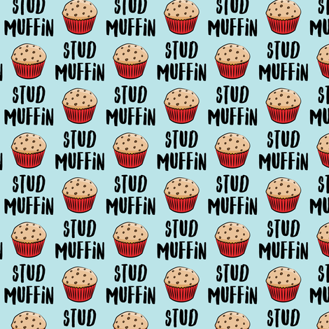 (small scale) Stud muffin - valentines day - muffins on blue C18BS fabric by littlearrowdesign on Spoonflower - custom fabric