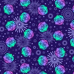 Aurora Dice with Purple Fireworks