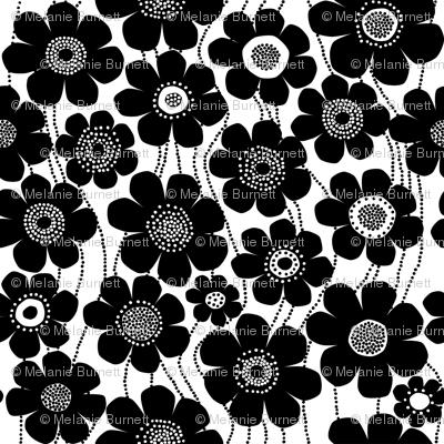 black and white jumbo flowers