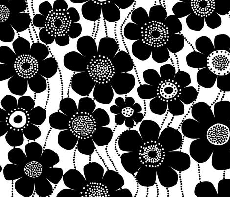 black and white jumbo flowers fabric by melanie_jane_designs on Spoonflower - custom fabric