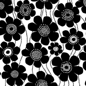 black and white jumbo flowers