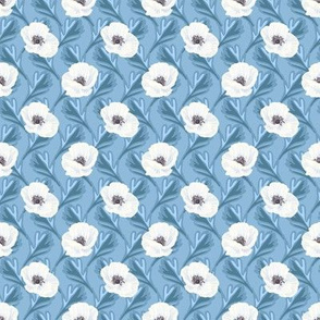 Tender white anemones and leaves pattern