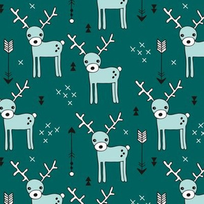 Adorable woodland reindeer and arrows christmas illustration kids pattern design in soft winter blue teal