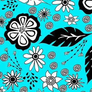Black and White design blue