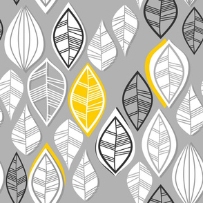 white retro leaves with yellow touch vertical on gray