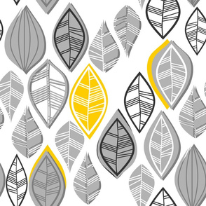 gray retro leaves with yellow touch vertical on white