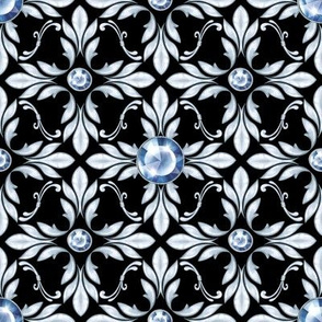 Silver luxury pattern with blue gems