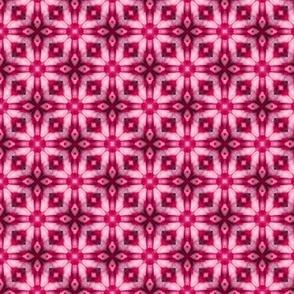 18-02g Floral Geometric Batik Hot Pink White _ Miss Chiff Designs