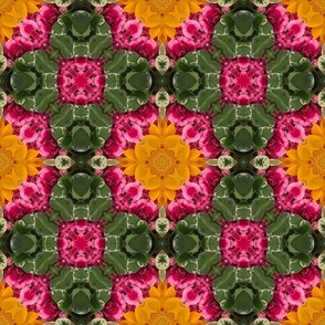 Kelly Green Hot Pink Sunflower Yellow Abstract Floral  Geometric _ Miss Chiff Designs