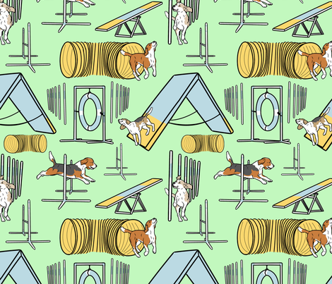 Simple Beagle agility dogs - green fabric by rusticcorgi on Spoonflower - custom fabric
