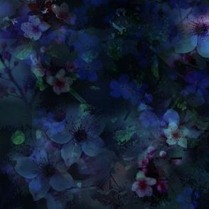 Dark Floral Cyanotype