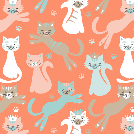 Queen Cats Atomic Orange fabric by jannasalak on Spoonflower - custom fabric