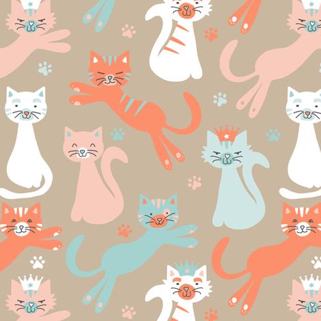 Queen Cats Tan fabric by jannasalak on Spoonflower - custom fabric