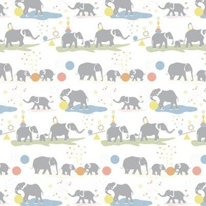 Playing elephants textile scale