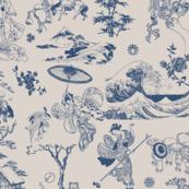 HOKUSAI-Toile de Jouy Style-Offwhite