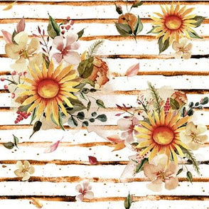 "8"" Golden Sunflowers // Orange Stripes"