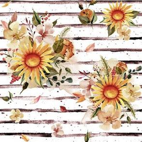 "8"" Golden Sunflowers // Cranberry Stripes"