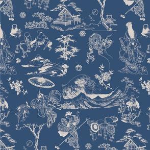 HOKUSAI-Toile de Jouy Style-Blue