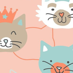 Happy Cats Pink Large Scale