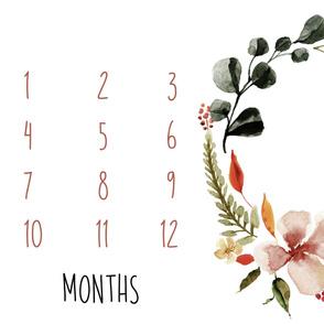 "54"" x 36"" // Tuscan Florals Baby Milestone Blanket"