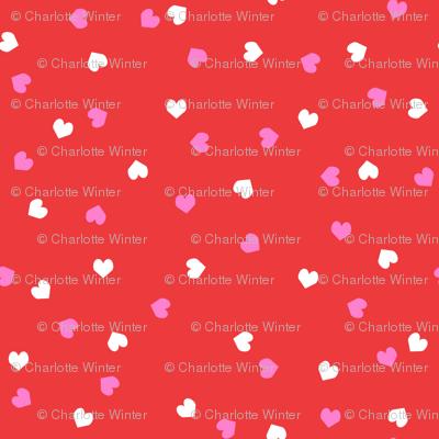 valentines confetti hearts fabric - valentines day fabric, hearts fabric, sweet girls fabric, cute girls fabric - bright red and white