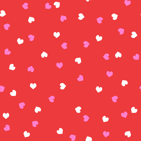 valentines confetti hearts fabric - valentines day fabric, hearts fabric, sweet girls fabric, cute girls fabric - bright red and white fabric by charlottewinter on Spoonflower - custom fabric