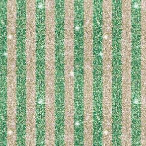 Emerald Green and sand sparkle glitter Christmas stripe
