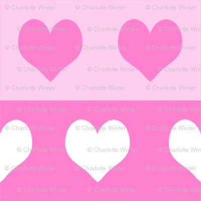 "1"" valentines heart stripes fabric, heart fabric, stripes fabric, valentines fabric, love fabric, hearts fabrics -  bubblegum and pastel"