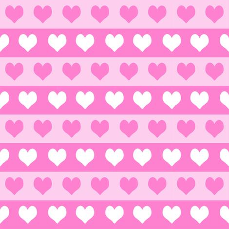 "1"" valentines heart stripes fabric, heart fabric, stripes fabric, valentines fabric, love fabric, hearts fabrics -  bubblegum and pastel fabric by charlottewinter on Spoonflower - custom fabric"