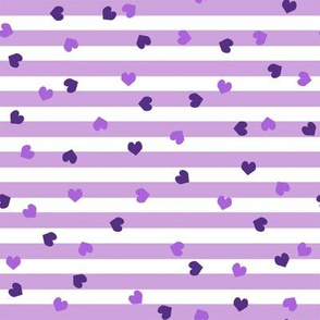 valentines heart stripes, heart fabric, valentines day fabric, valentines fabric, sweet girls fabric, - dark  violet hearts