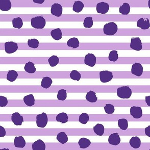 valentines dot stripe - dots, dot, stripe, stripes, valentines day fabric, - dark violet and mulberry