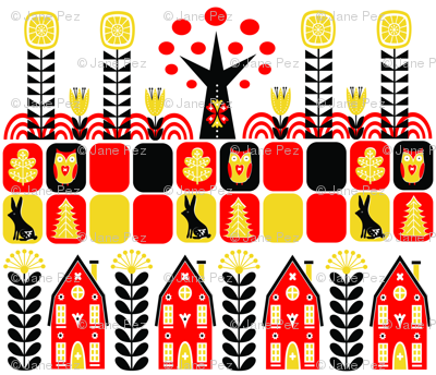 Scandinavian Folk Art Fat Quarter