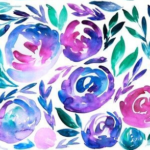 Vibrant Blues Purples Watercolor Floral Bold Modern - SMALL scale