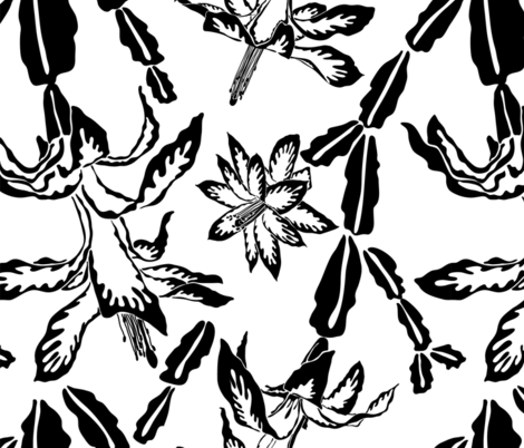 Jumbo large scale blooming cactus black and white pattern fabric by tasipas on Spoonflower - custom fabric