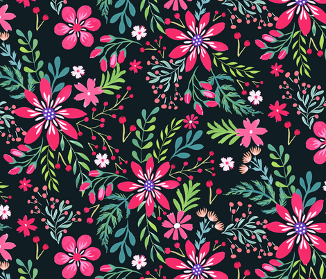Hand painted Christmas Floral Red and Pink fabric by jill_o_connor on Spoonflower - custom fabric