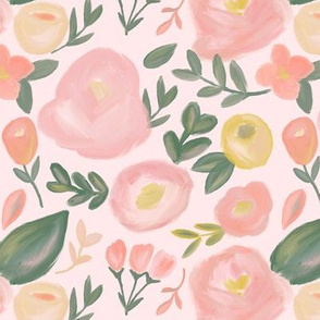 Peach Abstract Florals  on blush